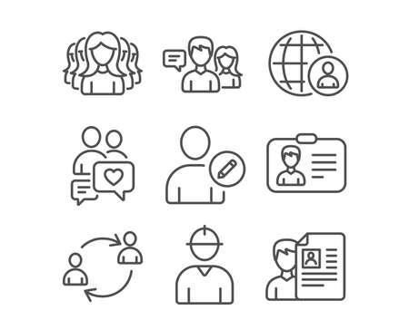 Ensemble de groupe de femmes, carte d'identité et icônes de recrutement international. Les gens qui parlent, le chat rencontre et les signes de communication de l'utilisateur. Ingénieur, Edit utilisateur et symboles d'entretien d'embauche. Vecteur Vecteurs