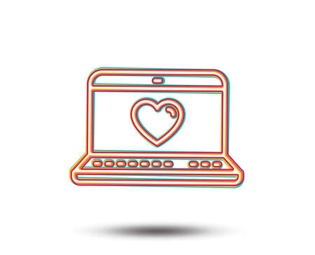 Love dating line icon. Heart in Notebook sign. Valentines day symbol. Colourful graphic design. Vector