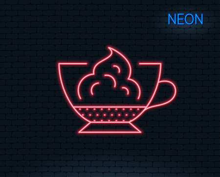 Neon light. Espresso with whipped cream icon. Hot coffee drink sign. Beverage symbol. Glowing graphic design. Brick wall. Vector