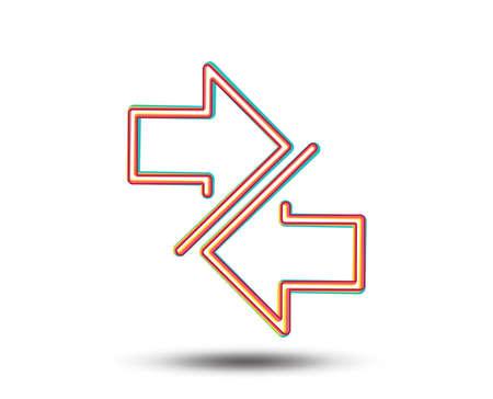 Sincronice el icono de la línea de flechas. Símbolo de flechas de comunicación. Signo de puntero de navegación. Colorido diseño gráfico. Vector