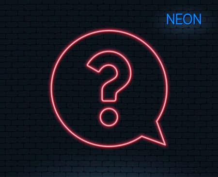 ネオンライト疑問符の線アイコン。スピーチバブルサインを助けます。FAQ シンボル。輝くグラフィックデザイン。レンガの壁ベクトル