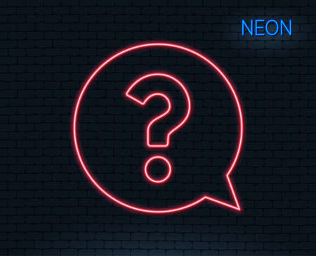 Neon light. Question mark line icon. Help speech bubble sign. FAQ symbol. Glowing graphic design. Brick wall. Vector