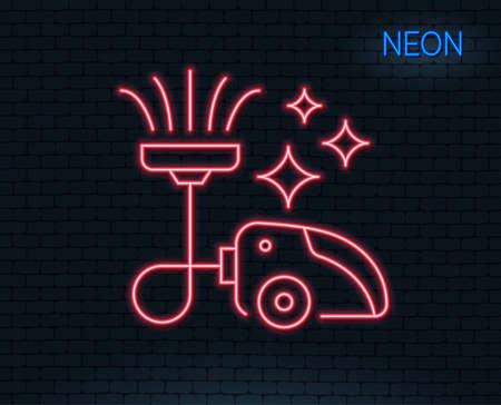 네온 불빛. 진공 청소기 줄 아이콘입니다. 청소 서비스 기호입니다. 빛나는 그래픽 디자인. 벽돌 벽. 벡터