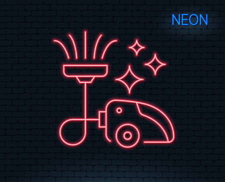 Neon light. Vacuum cleaner line icon. Cleaning service symbol. Glowing graphic design. Brick wall. Vector Illustration
