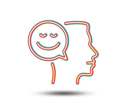 Icona della linea di pensiero positivo. Simbolo della comunicazione umana. Sorriso segno di chat. Grafica colorata. Archivio Fotografico - 93009597