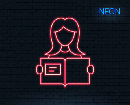 Neon light. Woman read a Book line icon. Education symbol. Instruction or E-learning sign. Glowing graphic design. Brick wall. Vector Illustration
