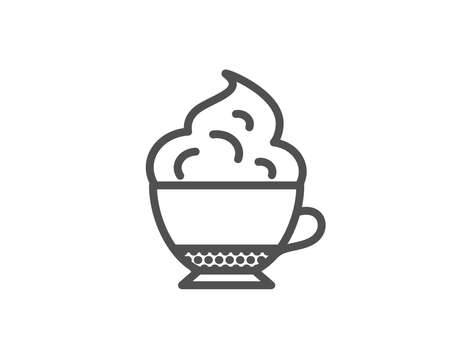 Cappuccino coffee with Whipped cream icon. Hot drink sign. Beverage symbol. Quality design element. Editable stroke. Vector Illustration