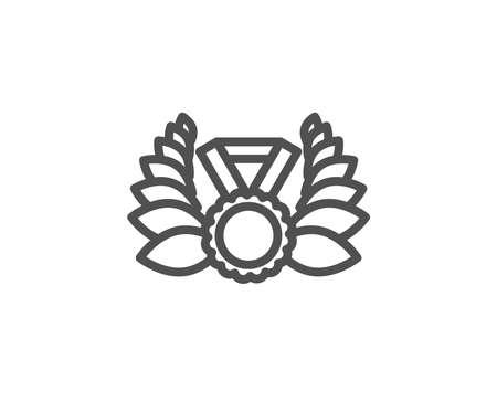 Laurel wreath line icon. Winner medal symbol. Prize award sign. Quality design element. Editable stroke. Vector Stock Vector - 93141079
