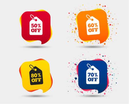 판매 가격 태그 아이콘입니다. 특별 할인 기호를 할인하십시오. 50 %, 60 %, 70 % 및 80 %의 부호가 사라집니다. 연설 거품 또는 채팅 기호. 컬러 요소입니다. 일러스트