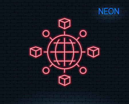 Neon light. Logistics network line icon. Parcel tracking sign. Goods distribution symbol. Glowing graphic design. Brick wall. Vector