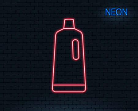 ネオンライトシャンプーラインアイコンをクリーニング。洗浄液またはクレンザー記号。ハウスキーピング機器の看板。輝くグラフィックデザイン