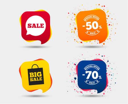 Verkoop tekstballon icoon. 50% en 70% procent kortingssymbolen. Grote verkoop boodschappentas teken. Tekstballonnen of chatsymbolen. Gekleurde elementen. Vector