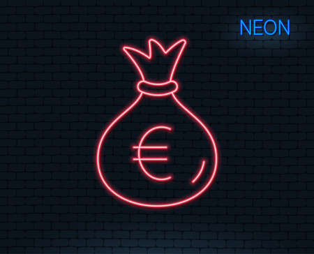 Neon light. Money bag line icon. Cash Banking currency sign. Euro or EUR symbol. Glowing graphic design. Brick wall. Vector