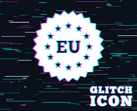Glitch effect. European union icon. EU stars symbol. Background with colored lines. Vector