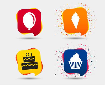 Verjaardag partij pictogrammen. Cake met ijstekens. Luchtballon symbool. Tekstballonnen of chatsymbolen. Gekleurde elementen. Vector