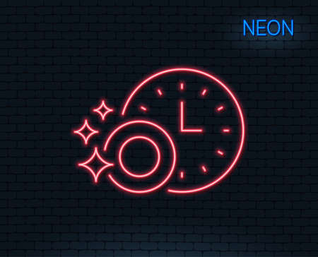 Neon light. Cleaning dishes with Time line icon. Dishwasher sign. Clean tableware sign. Glowing graphic design. Brick wall. Vector
