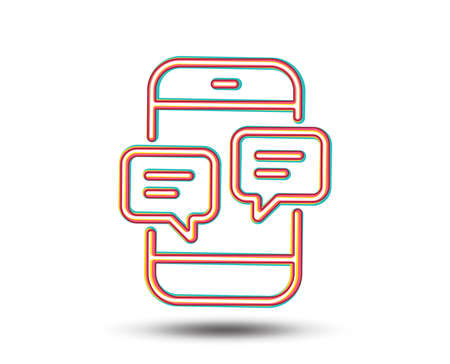 Phone Message line icon. Mobile chat sign. Conversation or SMS symbol. Colourful graphic design. Vector Иллюстрация