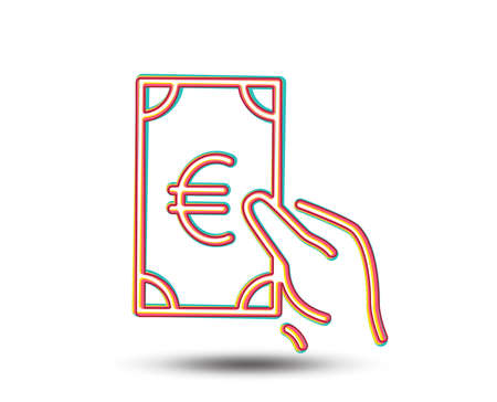 Hold Cash money line icon. Banking currency sign. Euro or EUR symbol. Colourful graphic design. Vector Illustration