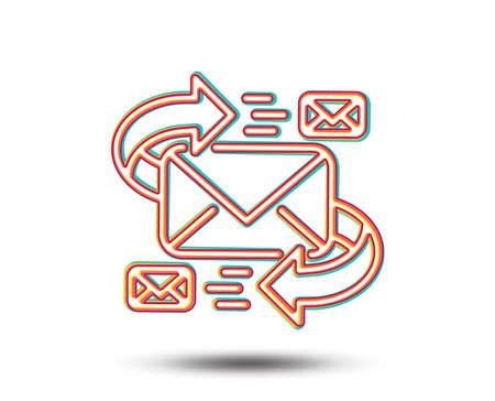 メールラインアイコン。文字記号による通信。電子メール チャット署名。カラフルなグラフィックデザイン。ベクトル
