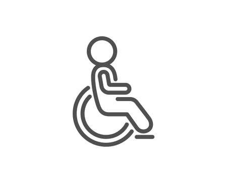 無効な行アイコン。障害者用車椅子サイン。人の輸送シンボル。品質設計要素。編集可能なストローク。ベクトル