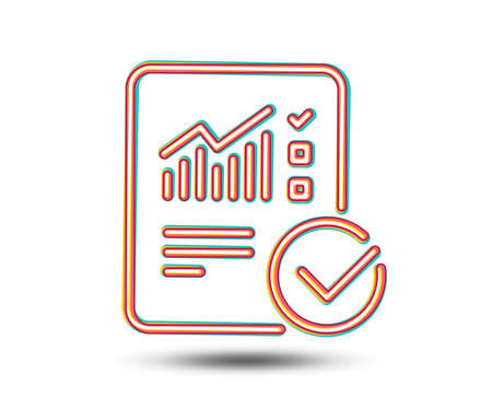 Checklist document line icon. Analysis Chart or Sales growth report sign. Statistics data symbol. Colourful graphic design. Vector