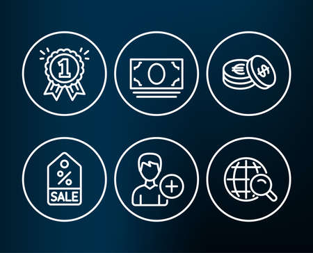 Set of Sale coupon, Cash money and Savings icons. Reward, Add person and Internet search signs. Discount tag, Banking currency, Cash coins. First place, Edit user data, Web finder.  Editable stroke Illusztráció