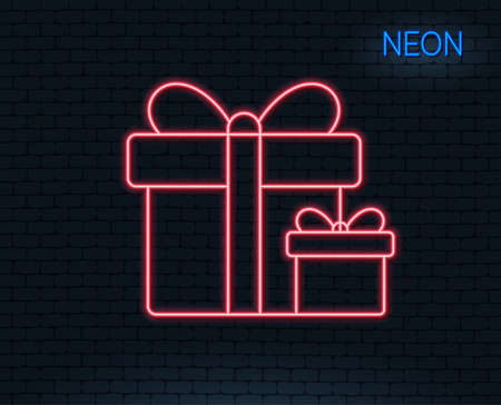 Neon light. Gift boxes line icon. Present or Sale sign. Birthday Shopping symbol. Package in Gift Wrap. Glowing graphic design. Brick wall. Vector Illustration