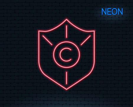 Neon light. Ã�Â¡opyright protection line icon. Copywriting sign. Shield symbol. Glowing graphic design. Brick wall. Vector Ilustração