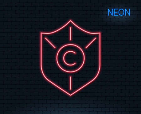 Neon light. Сopyright protection line icon. Copywriting sign. Shield symbol. Glowing graphic design. Brick wall. Vector