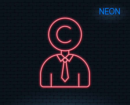 Neon light. Сopyrighter line icon. Writer person sign. Copywriting symbol. Glowing graphic design. Brick wall. Vector Ilustração