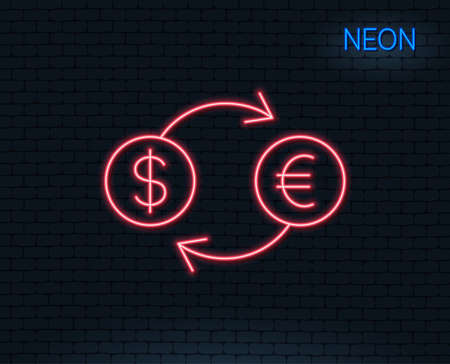 Neon light. Money exchange line icon. Banking currency sign. Euro and Dollar Cash transfer symbol. Glowing graphic design. Brick wall. Illustration