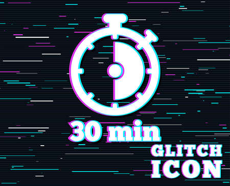Glitch effect. Timer sign icon. 30 minutes stopwatch symbol. Background with colored lines. Vector