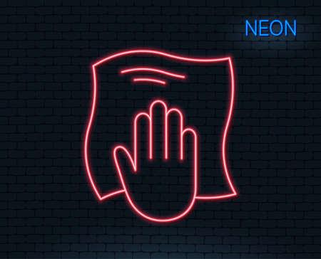 Neonlicht. Reinigingsdoek lijn pictogram. Veeg met een lap-symbool. Huishoudelijke apparatuur teken. Gloeiend grafisch ontwerp. Stenen muur. Vector