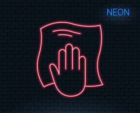 Neon light. Cleaning cloth line icon. Wipe with a rag symbol. Housekeeping equipment sign. Glowing graphic design. Brick wall. Vector