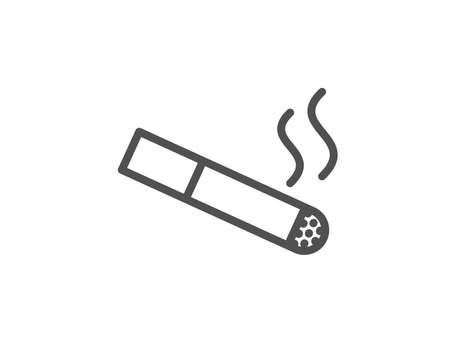 흡연 영역 선 아이콘입니다. 담배 기호입니다. 흡연자 영역 기호입니다. 품질 디자인 요소입니다. 편집 가능한 획. 벡터