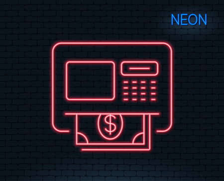 Neon light. ATM line icon. Money withdraw sign. Payment machine symbol. Glowing graphic design. Brick wall. Vector