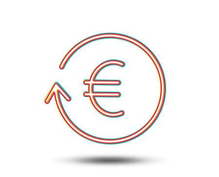 유로 돈 교환 라인 아이콘입니다. 은행 통화 기호입니다. EUR 현금 기호. 다채로운 그래픽 디자인입니다. 벡터