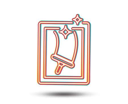 Fenster Reinigungslinie Symbol. Waschservice-Symbol. Hauswirtschaftsgeräte Zeichen. Buntes Grafikdesign. Vektor Standard-Bild - 93008900