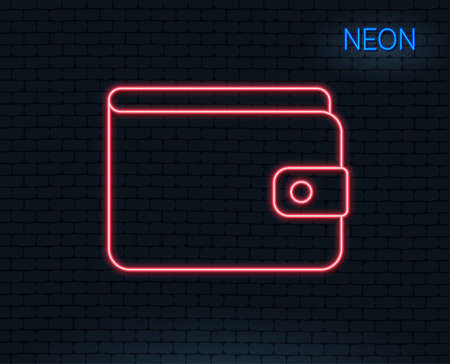 Neon light. Money Wallet line icon. Cash symbol. Payment method sign. Glowing graphic design. Brick wall. Vector