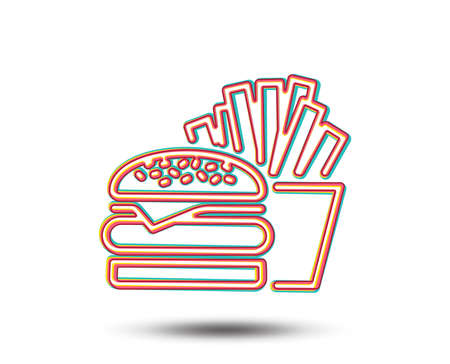 Burger with fries line icon. Fast food restaurant sign. Hamburger or cheeseburger symbol. Colourful graphic design. Vector