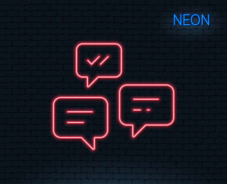 Neon light. Chat Messages line icon. Conversation or SMS sign. Communication symbol. Glowing graphic design. Brick wall. Vector