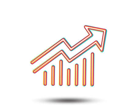 Chart line icon. Report graph or Sales growth sign. Analysis and Statistics data symbol. Colourful graphic design. Vector