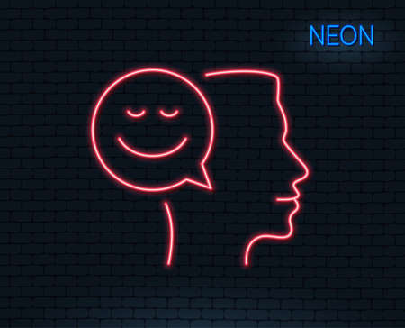 Neon light. Positive thinking line icon. Human communication symbol. Smile chat sign. Glowing graphic design. Brick wall. Vector illustration.