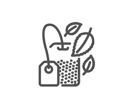 Mint tea bag line icon. Fresh herbal beverage sign. Mentha leaves symbol. Quality design element. Editable stroke. Vector illustration.