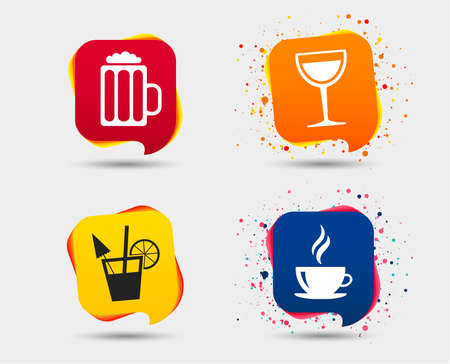 Drinks icons. Coffee cup and glass of beer symbols. Wine glass and cocktail signs. Speech bubbles or chat symbols. Colored elements. Vector illustration. Illustration