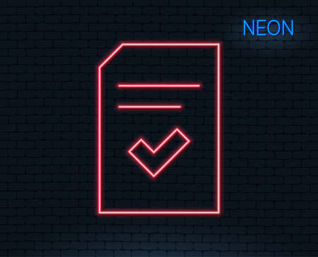 Neon light. Checked document line icon. Information file with check sign. Correct paper page concept symbol. Glowing graphic design. Brick wall. Vector illustration.
