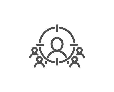 Business targeting line icon. Marketing target strategy symbol. Aim with people sign. Quality design element. Editable stroke. Vector illustration.