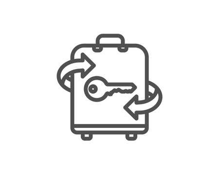 ラゲッジルームラインアイコン。手荷物ロッカーのサイン。旅行サービスシンボル。品質設計要素。編集可能なストローク。ベクトル