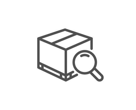 パッケージ行アイコンを検索します。配達ボックスのサイン。パーセル トラッキング シンボル。品質設計要素。編集可能なストローク。ベクトルイ