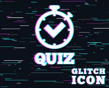 Glitch effect. Quiz timer teken pictogram. Vragen en antwoorden spelsymbool. Achtergrond met gekleurde lijnen. Vector illustratie